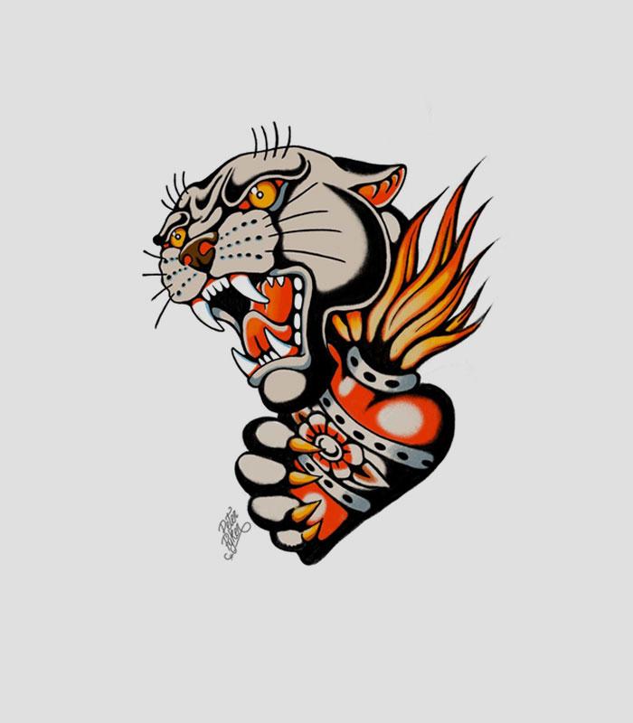Flash tattoo tigre