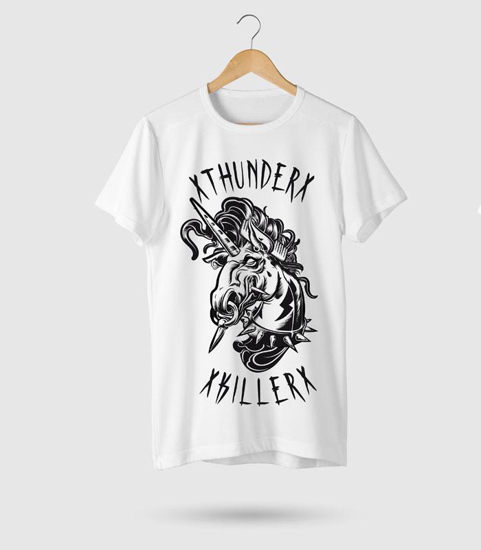 XuamaTattoo camiseta blanca unicornio